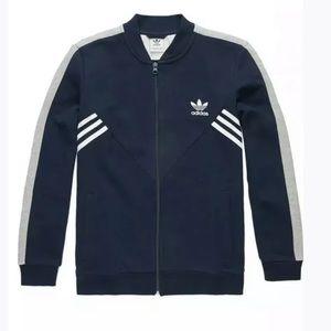 Adidas fleece sst track jacket zip down navy gray